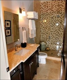 Full Bath Idea - Incorporate cabinetry at right for enclosed washer and dryer with marble top for folding