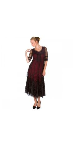 """Draw in the envy of those around you by wearing this show stopping 40257 """"Magnifique"""" Vintage inspired Party Dress in Wine by Nataya"""