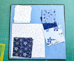 Spectrum QAL 2020 Block 1: Riley Blake Designs Blue Stitch - QUILTsocial Christopher Thompson, Half Square Triangles, Little Designs, Flying Geese, Riley Blake, Blue Fabric, Design Your Own, Quilting Designs, Quilt Blocks