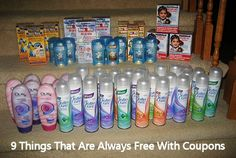 You can always find coupons for certain things - toothpaste, bathroom tissue, diapers.There are also many items that are always free with coupons. Here are 9 of them. Grocery Coupons, Shopping Coupons, Free Coupons, Shopping Hacks, Store Coupons, Couponing For Beginners, Couponing 101, Extreme Couponing, Start Couponing
