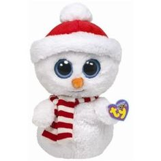 Adorable Ty Beanie Boo Buddy Scoops Snowman. Isn't he sweet & I found him on Pinterest's popular pins page! #snowmen #ty #beanieboo
