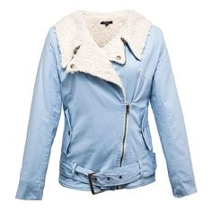 Ice Blue Faux Shearling Biker Jacket ($45) ❤ liked on Polyvore featuring outerwear, jackets, blue, blue motorcycle jacket, zip jacket, sherpa jacket, blue moto jacket and motorcycle jacket