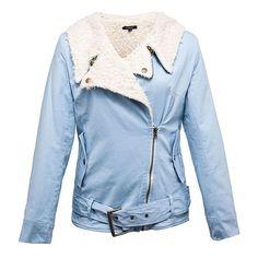 Ice Blue Faux Shearling Biker Jacket (66 AUD) ❤ liked on Polyvore featuring outerwear, jackets, blue, coats, lullabies, sherpa jacket, blue biker jacket, motorcycle jacket, blue zipper jacket and zip jacket