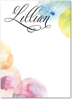 Vibrant Impression - Personalized Notepads in Black or Wave   Hello Little One