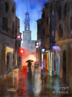 Shadows in the Rain - watercolor by ©Mohamed Hirji (FineArtAmerica)