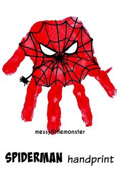 Messy Little Monster: Spiderman Superhero Handprint Craft