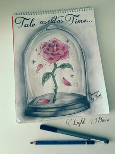 Inspiring this enchanted Rose from my favorite disney movie.   The enchanted rose, beauty and the beast,drawing,Sketching,draw,illustrations,disney,disney,lighthouse,morocco, movie,rose,disney drawing,art
