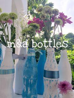 Botellas Vintage. Pintadas a mano. Recicladas. Elaboradas en Playa del Carmen. Regalo. Centro de mesa. Decoración original. Única. 9841134900