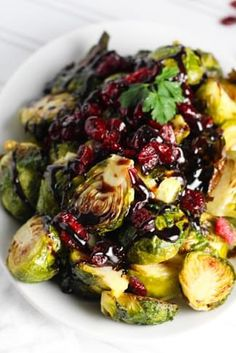 Roasted Brussels Sprouts with Cranberries and Balsamic Reduction recipe with 240 calories.