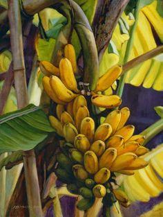 Ripe bananas, painting by Shen Jian Wei Tropical Art, Tropical Flowers, Bananas, Banana Art, Banana Plants, Caribbean Art, Fruit Painting, Exotic Fruit, Botanical Art