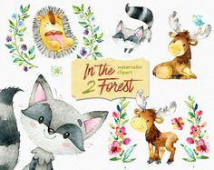 In the Forest 2. Watercolor animals clip art elk hedgehog