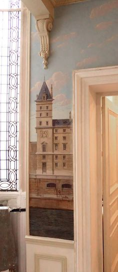 Views of Paris murals Quai des Orfèvres Mural Painting, Mural Art, Wall Murals, Mural Ideas, Hand Painted Ornaments, Wonderwall, Panel Art, Home And Deco, Paris