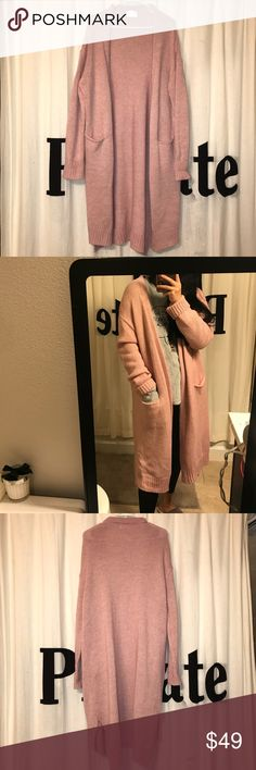 Pink Long Knit Cardigan very beautiful pink!Korean brand,only wear once! Very good condition! Next day Shipping beside weekends and holiday! Mielle Jackets & Coats