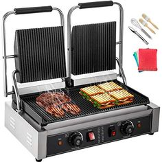 Happybuy 110V Commercial Sandwich Panini Press Grill 2X1800W Temperature Control 122°F-572°F Commercial Panini Grill ... Sandwich Toaster, Breakfast Sandwich Maker, Grill Oven, Barbecue Grill, Grilling, Grill Portable, Toast