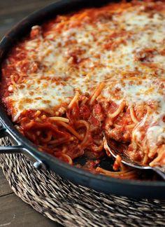 Mel's Kitchen Cafe | Skillet Baked Spaghetti {One Pot, 30-Minute Meal}