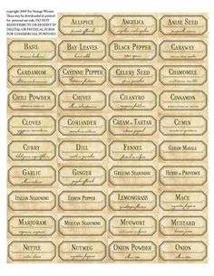 Beautiful herb jar labels - a great housewarming gift for someone in their first home would be a collection of herbs & spices. Purchased in bulk spices are much less expensive. Vintage Printable, Vintage Labels, Printable Tags, Spice Jar Labels, Herb Labels, Labels For Jars, Glass Spice Jars, Spice Bottles, Etiquette Vintage