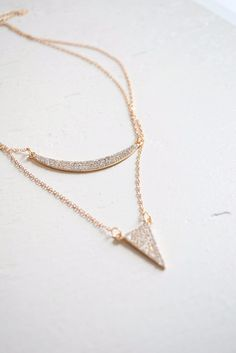 layered crescent and triangle pave necklace free shipping