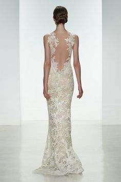 Amsale 'Nicole' Slim, corded lace gown with silk chiffon underlay and back lace applique.  www.cloudninepeoria.com