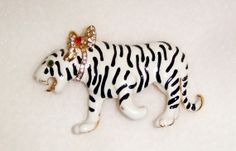 """Vintage GoldTone White & Black Enamel Tiger Pin by acolourfulpast, $14.99: USE COUPON CODE """"MOTHERSDAY"""" TO RECIEVE 10% OFF ORDERS OF $20 OR MORE! LOTS OF GREAT GIFTS FOR MOM!!"""