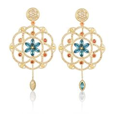 Damali cognac diamond, sapphire and topaz earrings