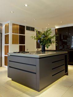 Modern Kitchen Showrooms storage drawers in roundhouse bespoke kitchen as seen in clapham