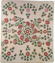 "Pineapple, Rose of Sharon, and Pink (?). Applique quilt. made by Amanda Estill Moran. Garrad County, Kentucky. Circa 1860. Cotton. 100"" x 86"". Collection of Mrs. John Wade Walker."
