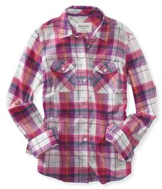 Long Sleeve Sheer Plaid Woven Shirt from Aeropostale