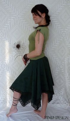 Reserved for Marie Schmidt LONG GREEN SKIRT gypsy by SINDdesign