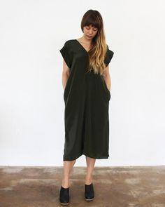 BANKS SILK KIMONO DRESS - OLIVE esby apparel FW16