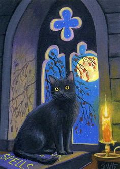 Black cat witch's window Halloween moon candle book original aceo painting art #Realism