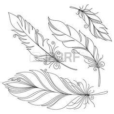 tetování náčrtek: Vector Peerless dekorativní peří, Tribal design, tetování Ilustrace