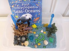Educational Toys: Ocean Sensory Bin filled with blue-dyed rice, aquarium rocks, faux seaweed and underwater shapes