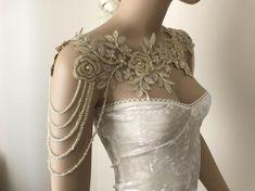 Ivory silver Lace Shoulder Necklace shoulder bridal lace shoulder, wedding shoulder necklace, Rhinestone Necklace, Lace shoulder Jewelry in 2020 Shoulder Jewelry, Shoulder Necklace, Pretty Dresses, Beautiful Dresses, Mini Dresses, Lace Weddings, Wedding Dresses, Bridesmaid Dresses, Fantasy Gowns