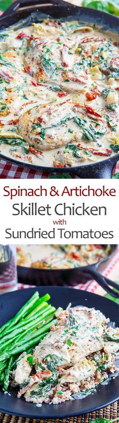 Spinach and Artichoke Skillet Chicken with Sundried Tomatoes