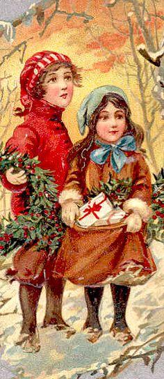 Gorgeous Vintage Christmas Card! Kids Delivering Gifts ~ Orange Sky