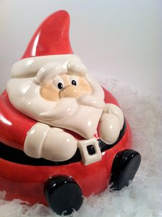 Vintage Ceramic Santa Candy Cookie Jar by modclay on Etsy, $39.00