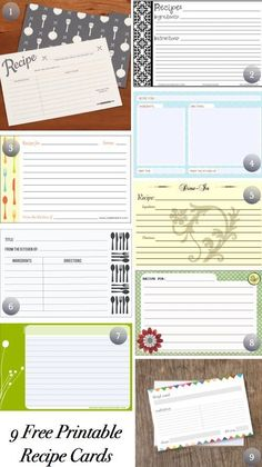 Free Cute Printable Recipe Cards | Free Printable Recipe Cards | Craft Ideas