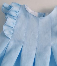 Ice Blue Frilled Linen Dress