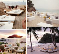Love this unconventional seating for a beach #wedding. Could be for ceremony, cocktails or dinner!