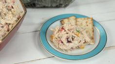 """Chicken Salad: Shredded chicken, chopped bell pepper, and water chestnuts make this chicken salad distinctive and help it earn its popularity as our """"go-to"""" chicken salad recipe."""