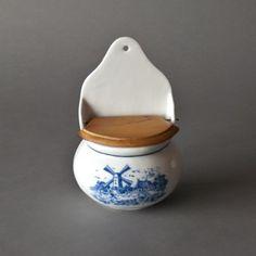 Vintage Salt Box Cellar by:-Zeesvintage Salt Pepper Shakers, Salt And Pepper, Salt Cellars, Salt Box, Spoons, Wall Mount, Script, Dutch, Blue And White