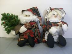 Santa & Mrs. Claus Stuffed Plush Weighted Figures Dolls Hand Made Sewn Craft #Unbranded