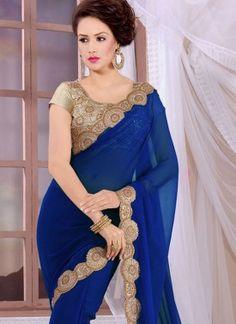 Intrinsic Georgette Blue Designer Saree For Festival and  Reception
