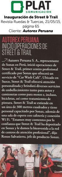 Autorex Peruana: Inauguración de Street & Trail en la revista Ruedas & Tuercas (21/05/15)