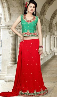 Red/Green Georgette Choli Dress in Plus Size Price: Usa Dollar $208, British UK Pound £121, Euro153, Canada CA$223 , Indian Rs11232.