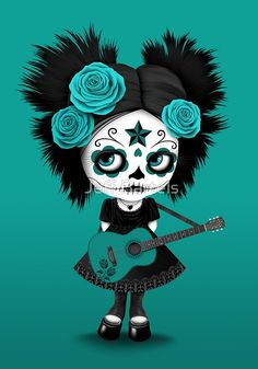 Teal Blue Sugar Skull Big Eyed Girl Playing the Guitar | Jeff Bartels