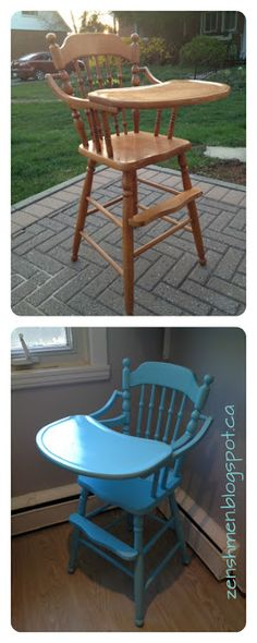ZenShmen! | A DIY Home Improvement Blog | Ugly-to-Nice 2: Everyday objects get a makeover | #turquoise #highchair #baby