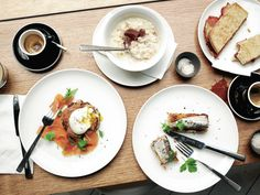 Why sit at home moping over Vegemite on toast when the breakfast capital of the world offers up buttermilk biscuits, banoffee porridge and pork chops? Melbourne Breakfast, Breakfast Cafe, Melbourne Food, Banoffee, Buttermilk Biscuits, Pork Chops, Good Food, Food And Drink, Restaurant