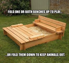 Smart Sandbox with sliding cover. No more kitty poop in our sandbox! sandbox Sandbox with built in benches mommy sandbox Outdoor Projects, Home Projects, Craft Projects, Sand Pit, Built In Seating, Outdoor Fun, Outdoor Pallet, Outdoor Ideas, Outdoor Cats