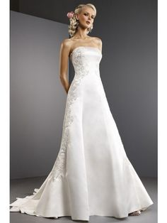 Satin Lace Strapless Chapel Train Stunning Crystal Embroidery Wedding Dress